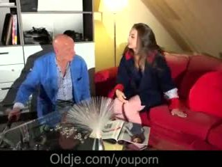 Bedroom Orgy for Big Tits Babe Fucking Old Stranger Facial Cumshot Video