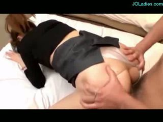 Busty office lady getting her pussy fucked facial on the bed