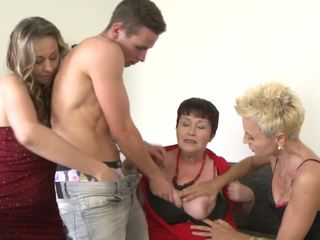 3 Mature Moms Sharing Lucky Young Son, HD Porn 55