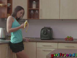 Girlfriends Friends dance and oral in kitchen
