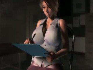 Sexy anime girl in big boobs blows a giant cock