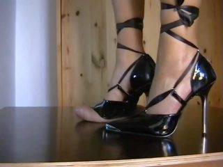 Shoejob with Black Stiletto, Free High Heels Porn Video e7