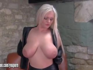 Sexy Blondes With Big Tits Tease in Leather and Horny Honey Plays With Her Sweet Pussy