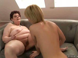 Fat grandma loves young girl