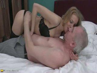 Blonde girl, old men