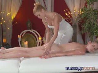 Massage Rooms Redhead lesbian gives blonde model an intense orgasm