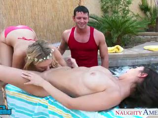 Cuties Dillion Harper and Natalia Starr gets facialized at poolside