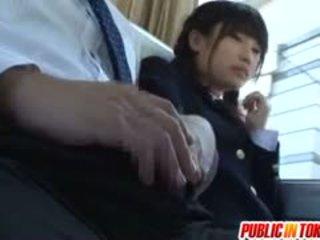 Gorgeous Teen Schoolgirl Has Fun Riding Cock On A Bus