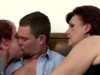 3 Mature Mothers Sharing One Lucky Son, Porn 1f