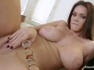 Busty brunette Alison toys her pussy and ass
