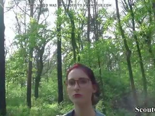German Scout - College Redhead Teen Lia in Public...