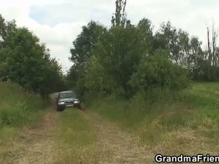 Granny and boys teen outdoor threesome