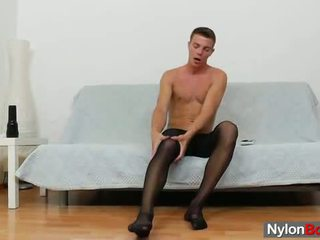 Gay guy teasing son bite en panty-hose