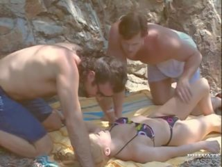 ideaal dubbele penetratie scène, trio, alle wijnoogst porno