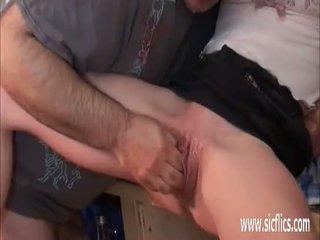 nieuw jong scène, groot orgasme actie, gapende