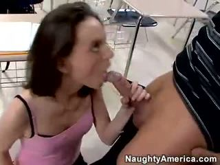 Horny Andrea Anderson loves the throbbing cock sliding in her warm mouth