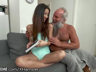 Grandpa Greets Teen Lover in His Towel, Porn 19