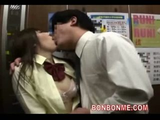 Japanese schoolgirl gives fat guy a great blowjob in elevato