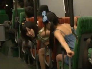 Pair Nice Dolls Oral Fuck Some Sleeping Guy's Cock In A Public Bus