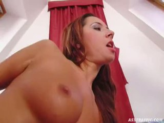 Ass Traffic Busty redhead spreads her hole and gets it up her ass