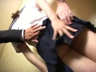 Slut schoolgirl sucks cock and gets tit fucked