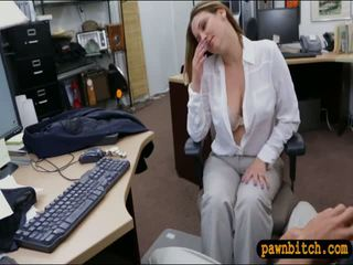 Foxy business woman screwed by pawn guy at the pawnshop
