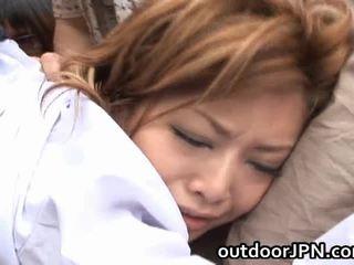 Akane hotaru sexy asijské modelu receives skupina fucked