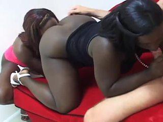 Perverse ebony bitches share a white c...