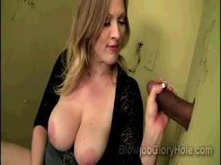 Juggy Vicky Vixen drills her pink cunt while sucking ebony Glory hole schlong