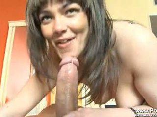 nice brunette hottest, blowjob, real cumshot