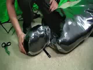 Engel shrink wrapped im cling film bondage