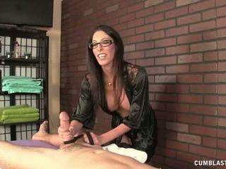 Hot Brunette Masseuse Causes A Big Cum...