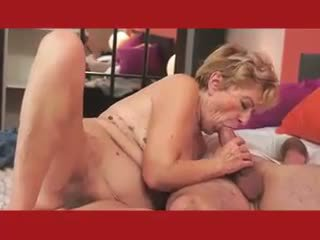 Hairy Granny in Pink Plays with Dildo ...