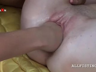 First time pussy fisting for slim lesbo blonde