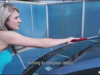 Cute carwash blonde earns extra with bj