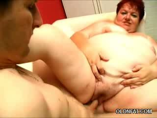 Obese Older chick Gets Her Juggs Sprayed