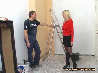 Pierced German MILF Marina with lots o...