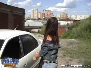 Brunette teen gets fucked by strange on the car bonnet Video