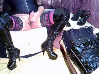 high heels video, masturbation movie, real dildo action