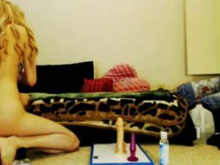 Blonde emo girl masturbating on webcam