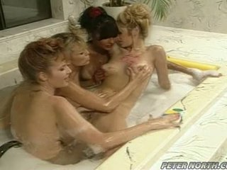 Anna Malle And Tiffany Mynx On A Naughty Bubble Bathroom Session With Some Girlfriends