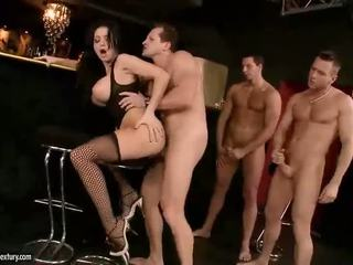 Horny Aletta Ocean fucking with three guys