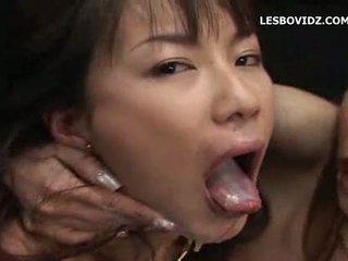 Hot asian lesbians cum swapping