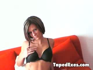 Beautiful girl takes her bra off and shows her delicious pink cunt