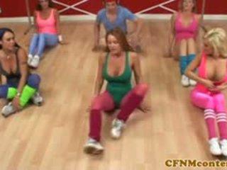 CFNM Femdoms Jerking Cock At Aerobics