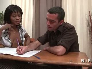 French black student in schoolgirl uniform double penetrated by 2 white dicks