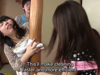 Subtitled जपानीस risky सेक्स साथ voluptuous मां में