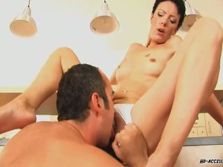Short haired mature fucking hard in the kitchen