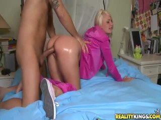 Blonde Teen In Pink Tosh Locks Takes Big Boner Doggystyle