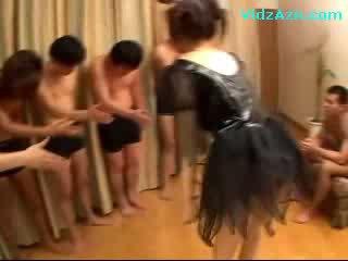 Oriental Girl In ebony Dress Sucking boners Jerking Off Guys boner